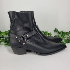 Depp Pointed Harness Boots Black Leather EU 41